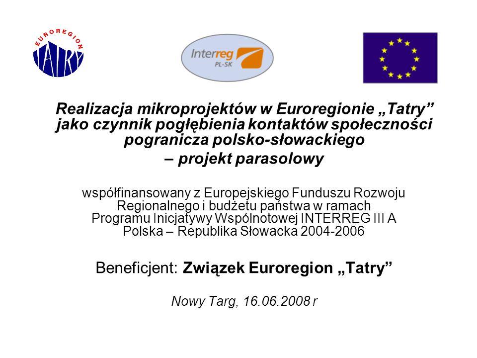 22 Efekty realizacji mikroprojektów przez Euroregion Tatry nauczenie się nieznanych dotąd procedur konceptualizacji, przygotowania, realizacji i rozliczania projektów, zbliżenie ludzi po jednej i po drugiej stronie granicy z różnych środowisk społecznych i zawodowych, masowy spontaniczny udział mieszkańców pogranicza w licznych wydarzeniach i imprezach,