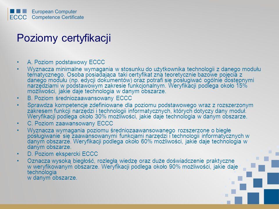 Poziomy certyfikacji A. Poziom podstawowy ECCC Wyznacza minimalne wymagania w stosunku do użytkownika technologii z danego modułu tematycznego. Osoba
