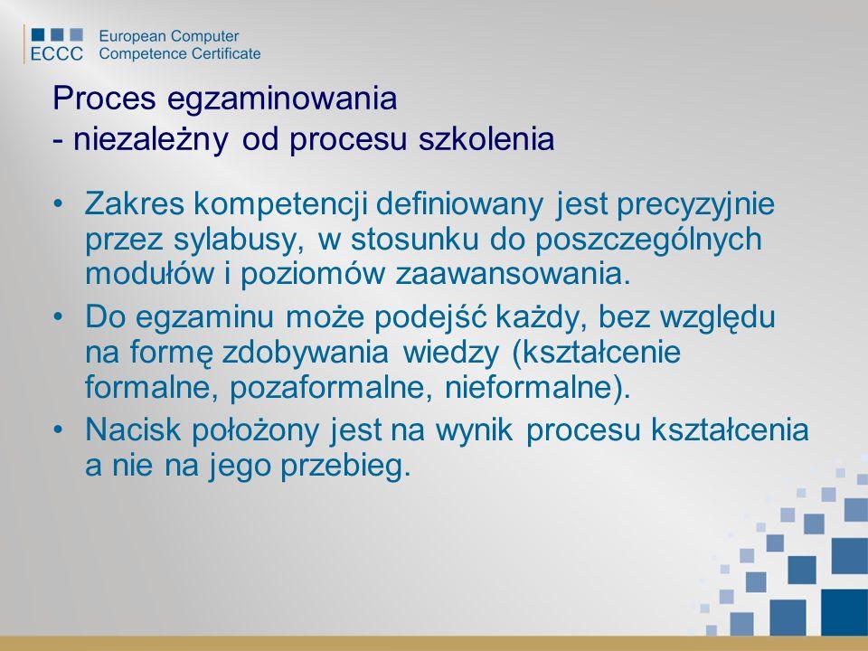 Proces egzaminowania - niezależny od procesu szkolenia Zakres kompetencji definiowany jest precyzyjnie przez sylabusy, w stosunku do poszczególnych mo