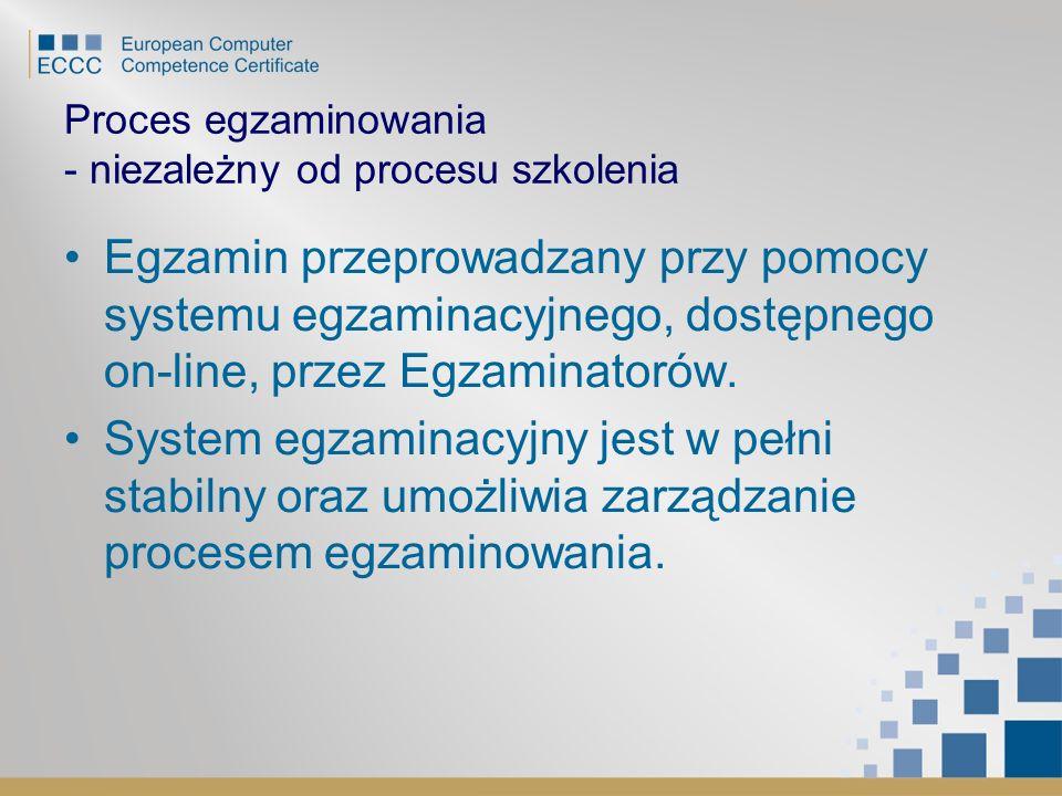 Proces egzaminowania - niezależny od procesu szkolenia Egzamin przeprowadzany przy pomocy systemu egzaminacyjnego, dostępnego on-line, przez Egzaminat