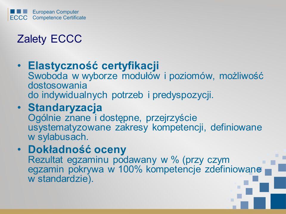 Zalety ECCC Elastyczność certyfikacji Swoboda w wyborze modułów i poziomów, możliwość dostosowania do indywidualnych potrzeb i predyspozycji. Standary