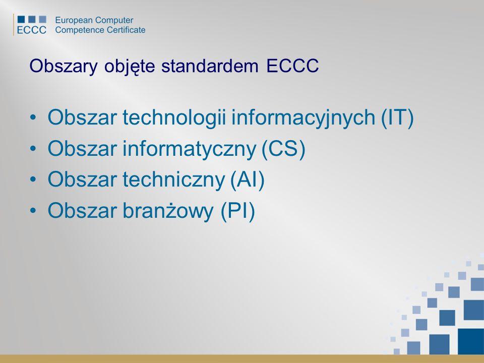Obszary objęte standardem ECCC Obszar technologii informacyjnych (IT) Obszar informatyczny (CS) Obszar techniczny (AI) Obszar branżowy (PI)