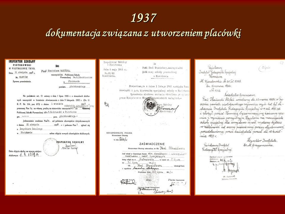 1939 wizyta Marii Grzegorzewskiej, założycielki i dyrektora Instytutu Pedagogiki Specjalnej w Warszawie, twórczyni pedagogiki specjalnej w Polsce