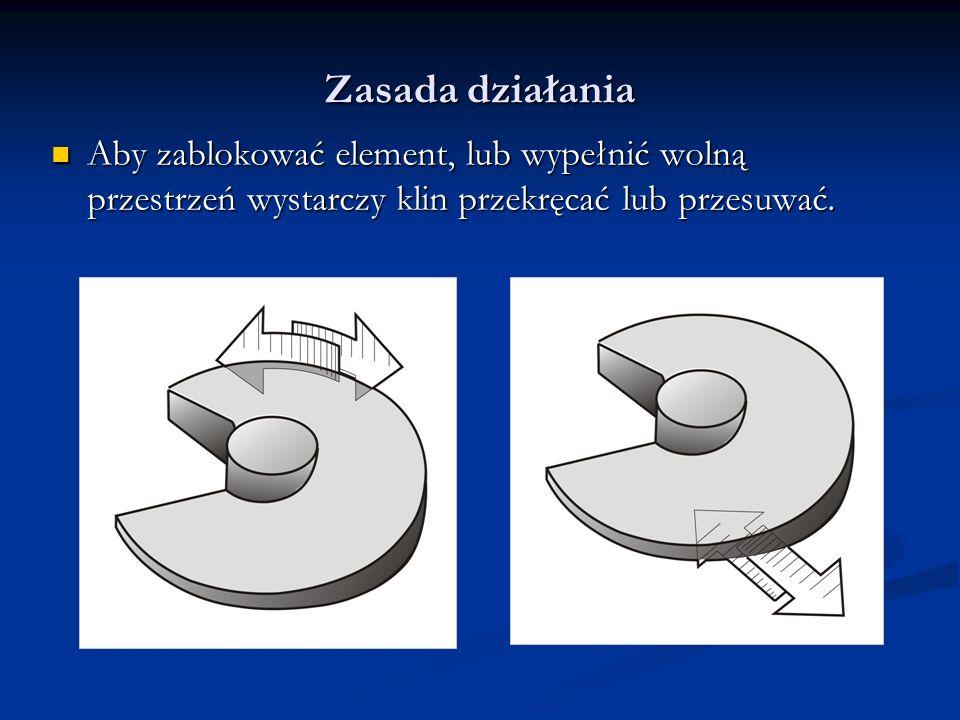 Zasada działania Aby zablokować element, lub wypełnić wolną przestrzeń wystarczy klin przekręcać lub przesuwać. Aby zablokować element, lub wypełnić w