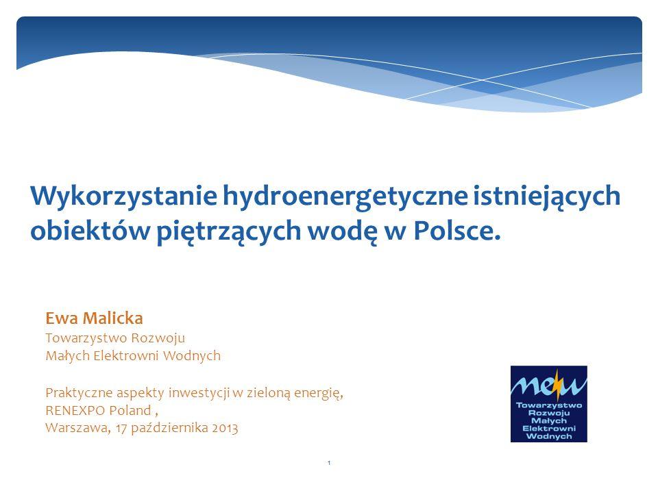 1 Wykorzystanie hydroenergetyczne istniejących obiektów piętrzących wodę w Polsce. Ewa Malicka Towarzystwo Rozwoju Małych Elektrowni Wodnych Praktyczn