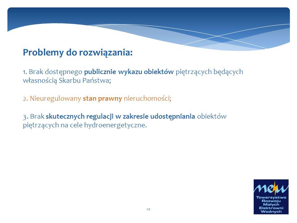 10 Problemy do rozwiązania: 1. Brak dostępnego publicznie wykazu obiektów piętrzących będących własnością Skarbu Państwa; 2. Nieuregulowany stan prawn