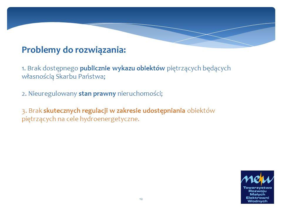 12 Problemy do rozwiązania: 1. Brak dostępnego publicznie wykazu obiektów piętrzących będących własnością Skarbu Państwa; 2. Nieuregulowany stan prawn