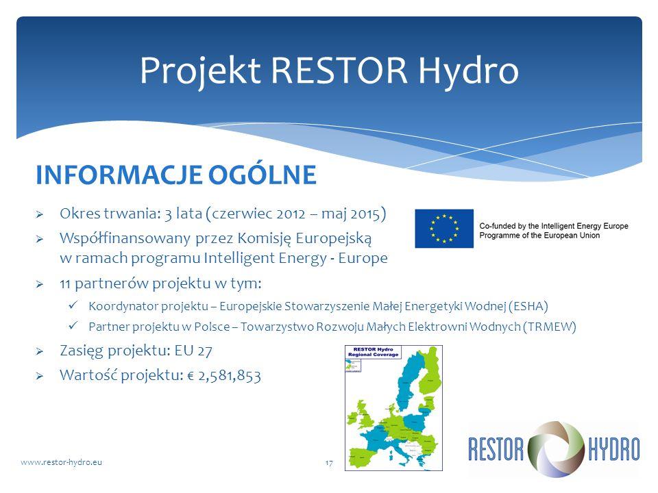 RESTOR Hydrowww.restor-hydro.eu17 Projekt RESTOR Hydro INFORMACJE OGÓLNE Okres trwania: 3 lata (czerwiec 2012 – maj 2015) Współfinansowany przez Komis