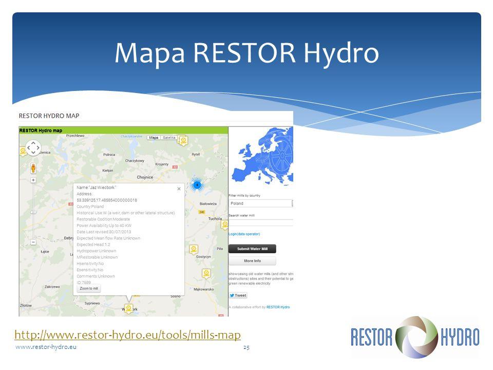 RESTOR Hydrowww.restor-hydro.eu25 Mapa RESTOR Hydro http://www.restor-hydro.eu/tools/mills-map