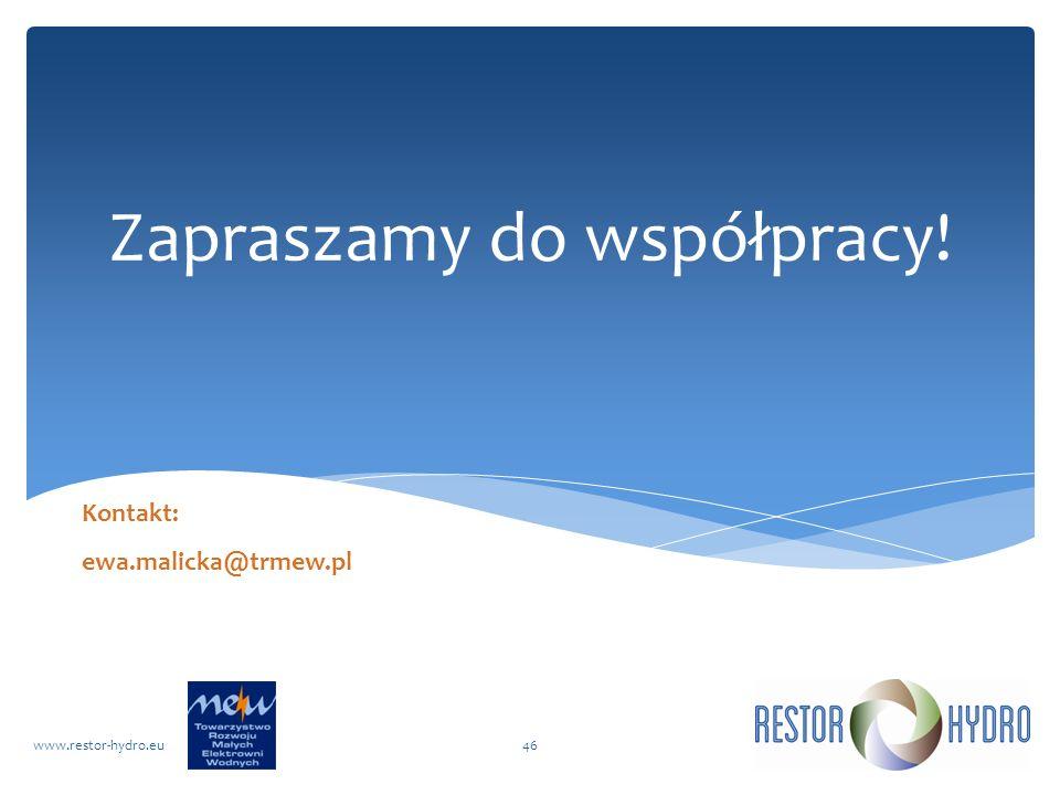 Zapraszamy do współpracy! RESTOR Hydrowww.restor-hydro.eu46 Kontakt: ewa.malicka@trmew.pl