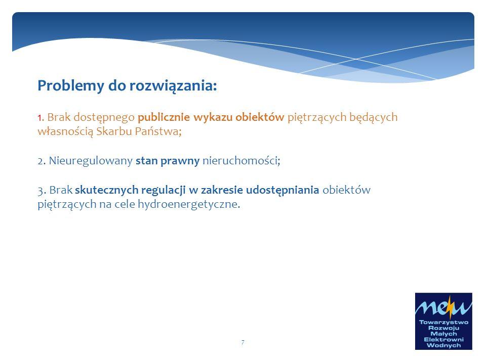 7 Problemy do rozwiązania: 1. Brak dostępnego publicznie wykazu obiektów piętrzących będących własnością Skarbu Państwa; 2. Nieuregulowany stan prawny