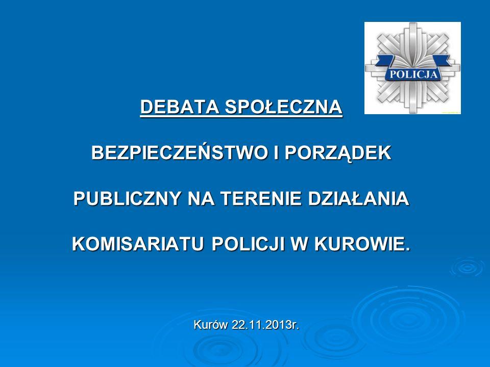 OGÓLNA CHARAKTERYSTYKA REJONU OBSŁUGIWANEGO PRZEZ KOMISARIAT POLICJI W KUROWIE OGÓLNA CHARAKTERYSTYKA REJONU OBSŁUGIWANEGO PRZEZ KOMISARIAT POLICJI W KUROWIE Teren działania Komisariatu swoim zasięgiem obejmuje teren gmin Kurów, Markuszów, Baranów i Żyrzyn z 61 miejscowościami, w których zamieszkuje około 22000 osób co stanowi ok.