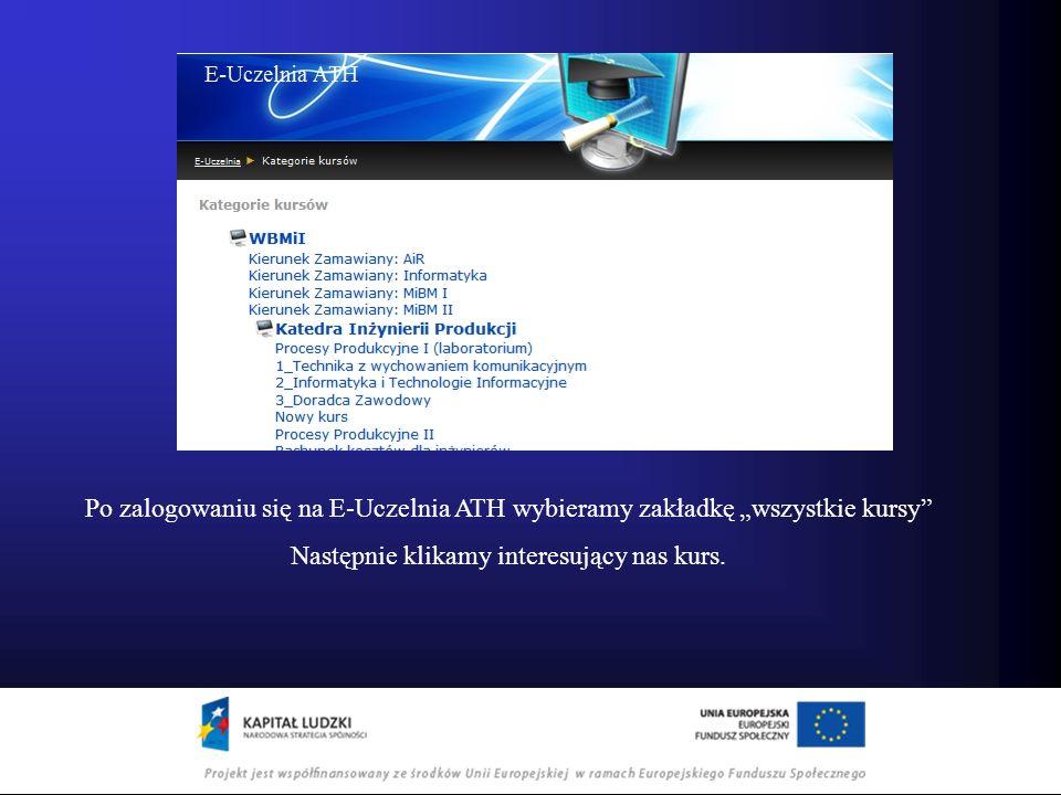Po zalogowaniu się na E-Uczelnia ATH wybieramy zakładkę wszystkie kursy Następnie klikamy interesujący nas kurs.