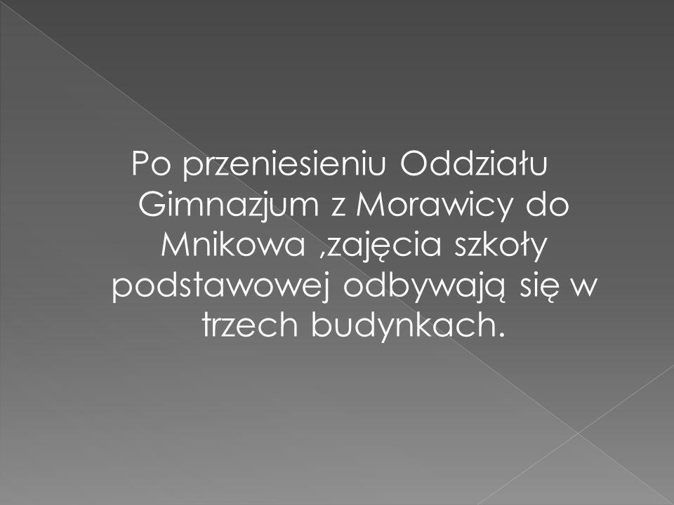 Po przeniesieniu Oddziału Gimnazjum z Morawicy do Mnikowa,zajęcia szkoły podstawowej odbywają się w trzech budynkach.