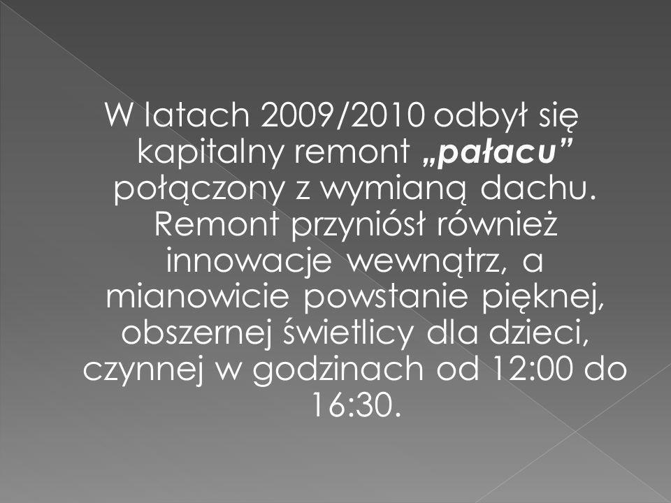 W latach 2009/2010 odbył się kapitalny remont pałacu połączony z wymianą dachu.