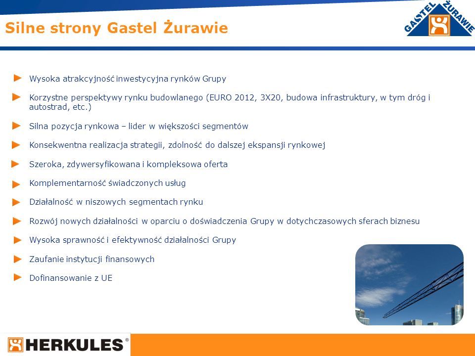 14 Silne strony Gastel Żurawie Wysoka atrakcyjność inwestycyjna rynków Grupy Korzystne perspektywy rynku budowlanego (EURO 2012, 3X20, budowa infrastr