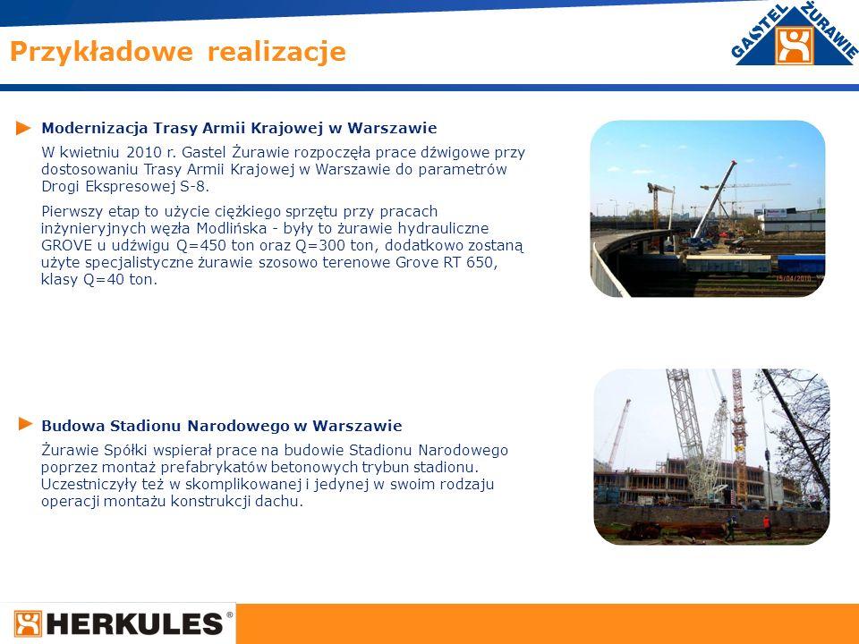 20 Modernizacja Trasy Armii Krajowej w Warszawie W kwietniu 2010 r. Gastel Żurawie rozpoczęła prace dźwigowe przy dostosowaniu Trasy Armii Krajowej w