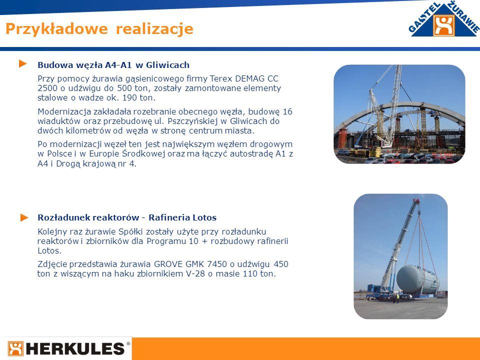 25 Budowa węzła A4-A1 w Gliwicach Przy pomocy żurawia gąsienicowego firmy Terex DEMAG CC 2500 o udźwigu do 500 ton, zostały zamontowane elementy stalo