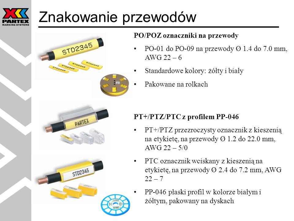 PO/POZ oznaczniki na przewody PO-01 do PO-09 na przewody Ø 1.4 do 7.0 mm, AWG 22 – 6 Standardowe kolory: żółty i biały Pakowane na rolkach Znakowanie