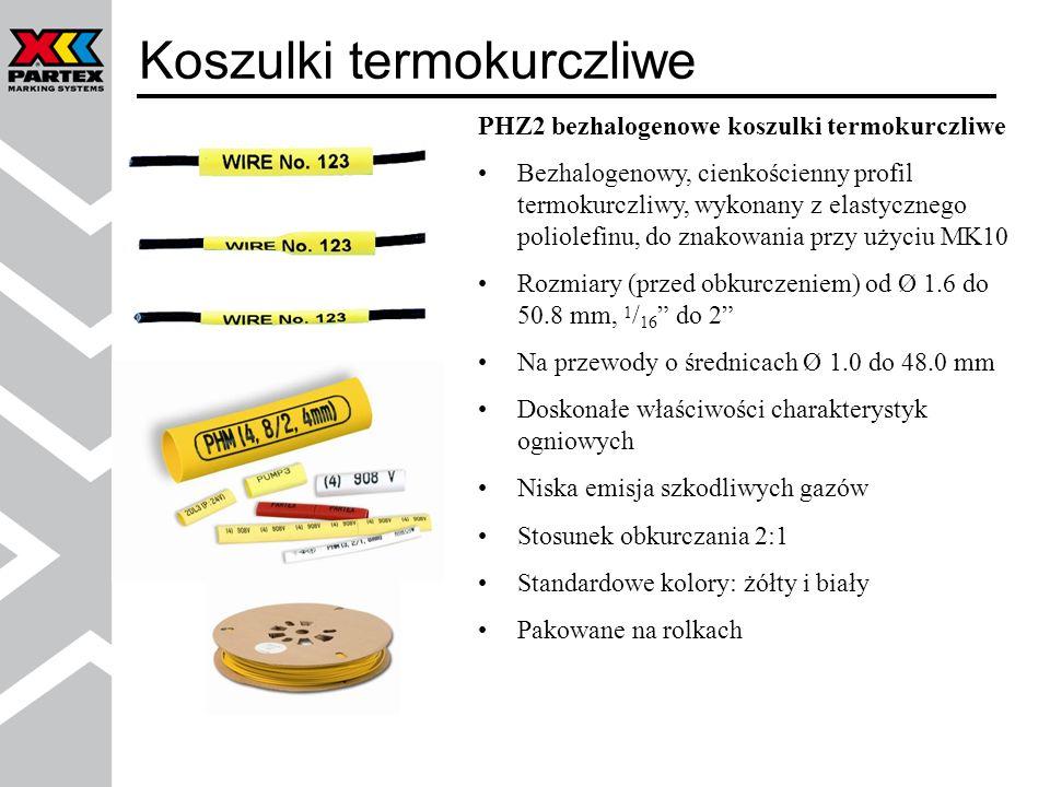 Oznacznik PO-068 na uchwycie POH lub PKH PO-06Q - perforowany profil do bezpośredniego montażu na kablach przy użyciu opasek zaciskowych, idealny do znakowania kabli o mniejszych średnicach PM-10 i PM-20 z profilem PP-046 i PP-090 PTM10 i PTM20 z profilem PP-046 i PP-090 do montażu przy użyciu jednej opaski Znakowanie kabli