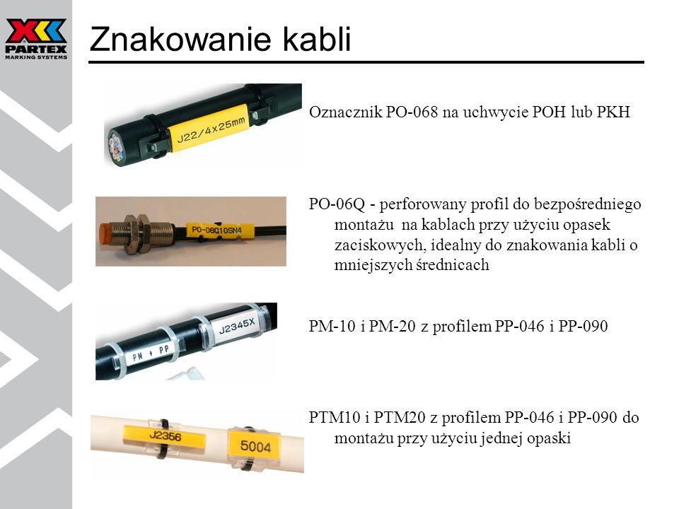 Oznacznik PO-068 na uchwycie POH lub PKH PO-06Q - perforowany profil do bezpośredniego montażu na kablach przy użyciu opasek zaciskowych, idealny do z