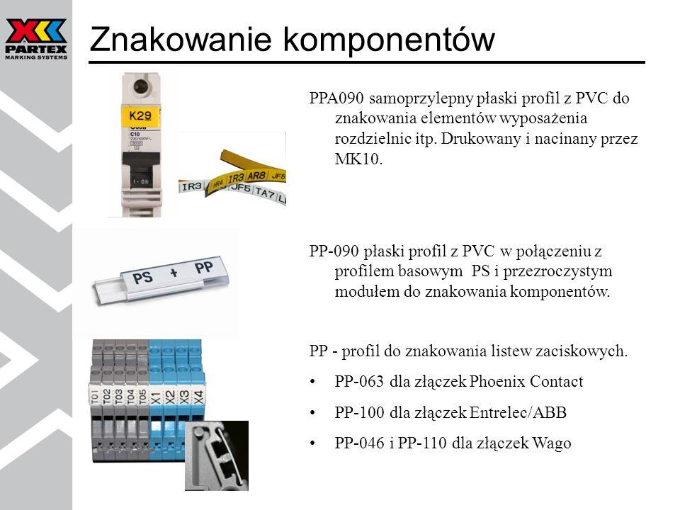 PPA090 samoprzylepny płaski profil z PVC do znakowania elementów wyposażenia rozdzielnic itp. Drukowany i nacinany przez MK10. PP-090 płaski profil z