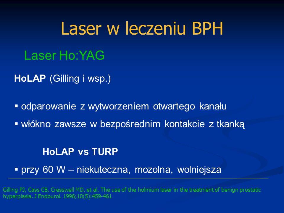 Laser w leczeniu BPH Laser Ho:YAG HoLAP (Gilling i wsp.) odparowanie z wytworzeniem otwartego kanału włókno zawsze w bezpośrednim kontakcie z tkanką H