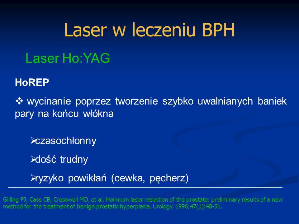 Laser w leczeniu BPH Laser Ho:YAG HoREP wycinanie poprzez tworzenie szybko uwalnianych baniek pary na końcu włókna czasochłonny dość trudny ryzyko pow