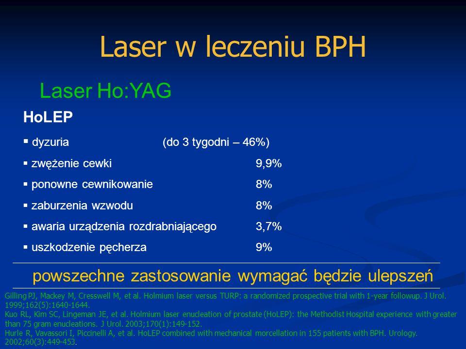 Laser w leczeniu BPH Laser Ho:YAG HoLEP dyzuria(do 3 tygodni – 46%) zwężenie cewki 9,9% ponowne cewnikowanie8% zaburzenia wzwodu8% awaria urządzenia r