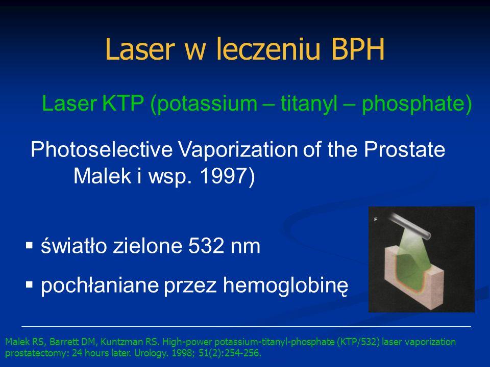 Laser w leczeniu BPH Laser KTP (potassium – titanyl – phosphate) Photoselective Vaporization of the Prostate Malek i wsp. 1997) światło zielone 532 nm