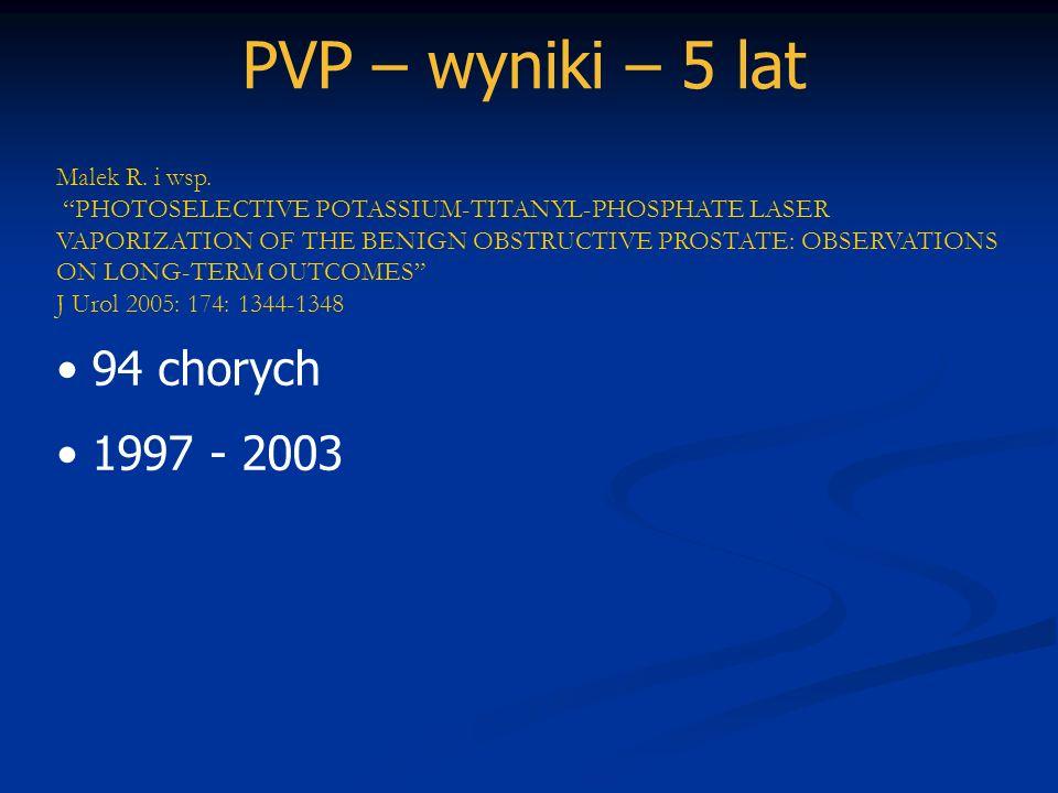 PVP – wyniki – 5 lat Malek R. i wsp. PHOTOSELECTIVE POTASSIUM-TITANYL-PHOSPHATE LASER VAPORIZATION OF THE BENIGN OBSTRUCTIVE PROSTATE: OBSERVATIONS ON
