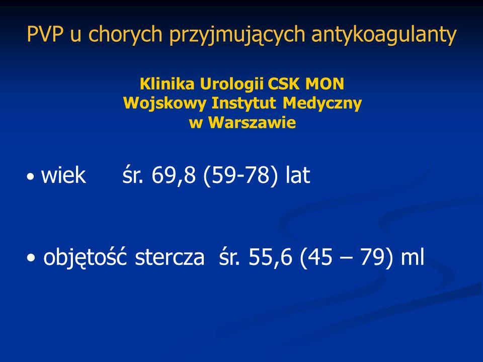 Klinika Urologii CSK MON Wojskowy Instytut Medyczny w Warszawie wiek śr. 69,8 (59-78) lat objętość sterczaśr. 55,6 (45 – 79) ml PVP u chorych przyjmuj