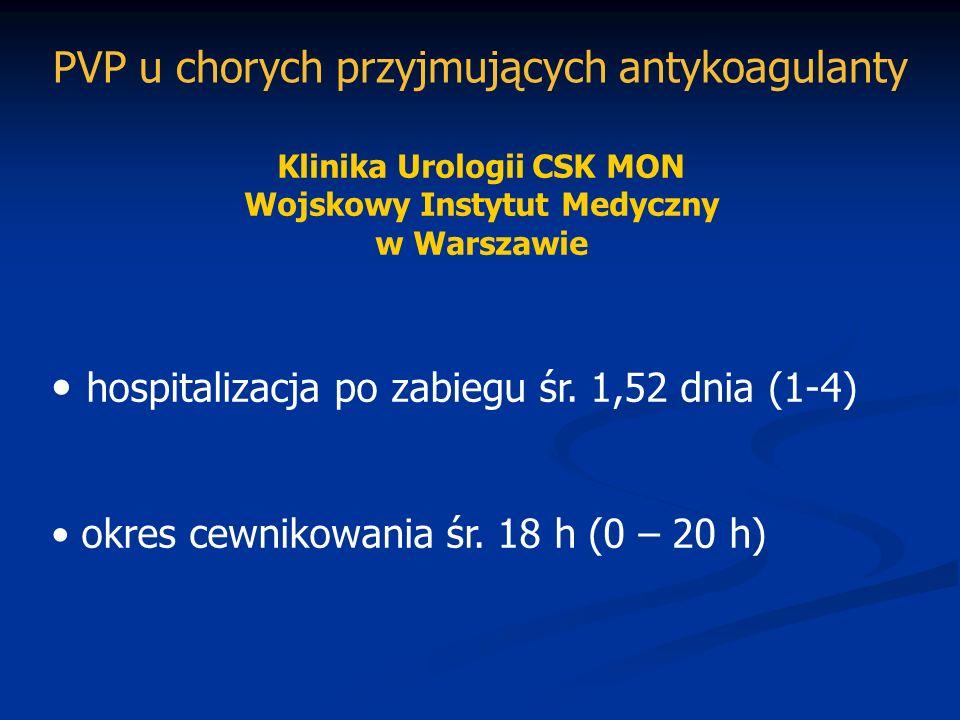 Klinika Urologii CSK MON Wojskowy Instytut Medyczny w Warszawie hospitalizacja po zabiegu śr. 1,52 dnia (1-4) okres cewnikowania śr. 18 h (0 – 20 h) P