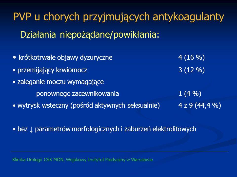krótkotrwałe objawy dyzuryczne 4 (16 %) przemijający krwiomocz 3 (12 %) zaleganie moczu wymagające ponownego zacewnikowania1 (4 %) wytrysk wsteczny (p