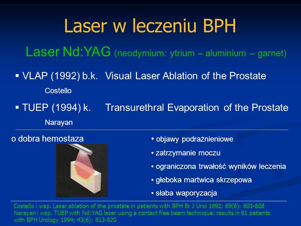 Laser w leczeniu BPH ILCP – Interstitial Laser Coagulation of the Prostate Martwica skrzepowa Zniszczenie i zanik tkanki cewnik cystostomia Nd:YAG Hoffstetter 1991 Ho:YAG diodowy > 3 tygodnie Hofstetter A.