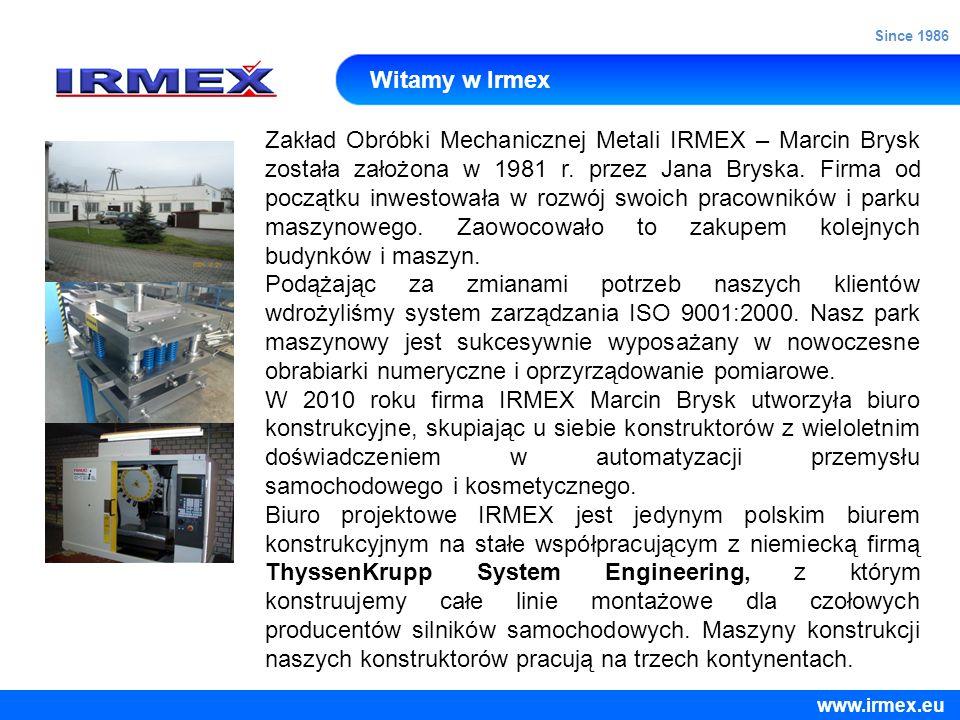 Witamy w Irmex Zakład Obróbki Mechanicznej Metali IRMEX – Marcin Brysk została założona w 1981 r. przez Jana Bryska. Firma od początku inwestowała w r