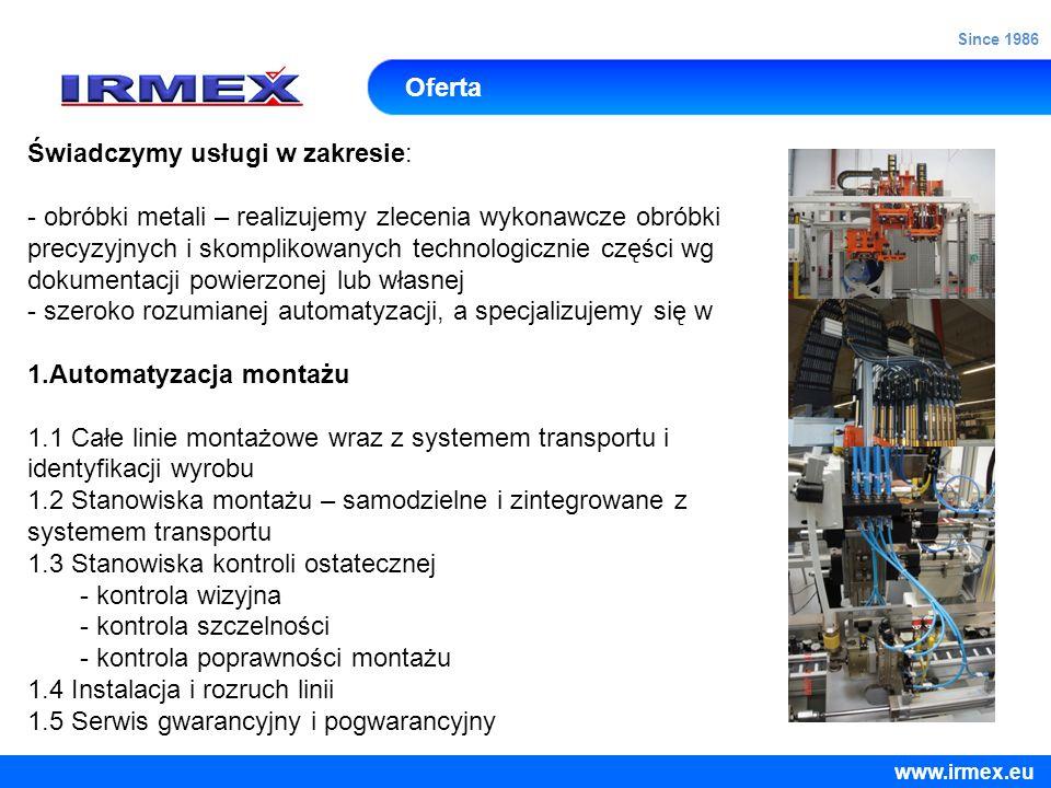 Oferta Świadczymy usługi w zakresie: - obróbki metali – realizujemy zlecenia wykonawcze obróbki precyzyjnych i skomplikowanych technologicznie części