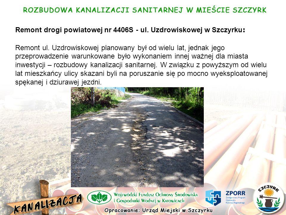 Remont drogi powiatowej nr 4406S - ul. Uzdrowiskowej w Szczyrku : Remont ul.