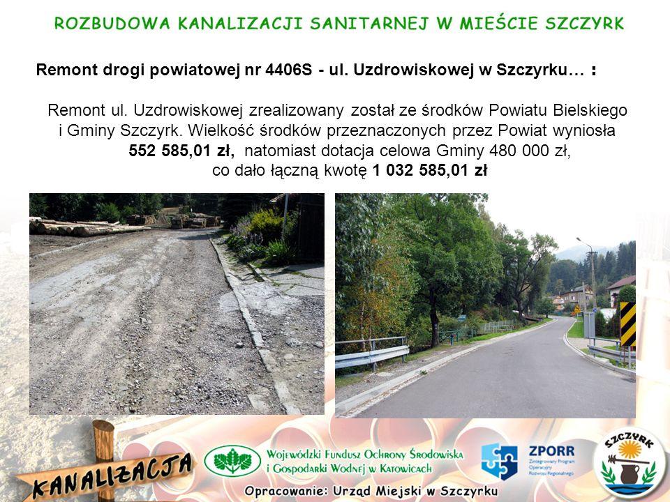 Remont drogi powiatowej nr 4406S - ul. Uzdrowiskowej w Szczyrku… : Remont ul.