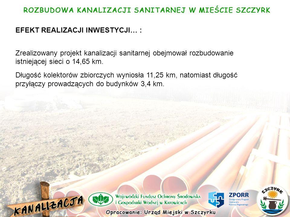 EFEKT REALIZACJI INWESTYCJI… : Zrealizowany projekt kanalizacji sanitarnej obejmował rozbudowanie istniejącej sieci o 14,65 km.