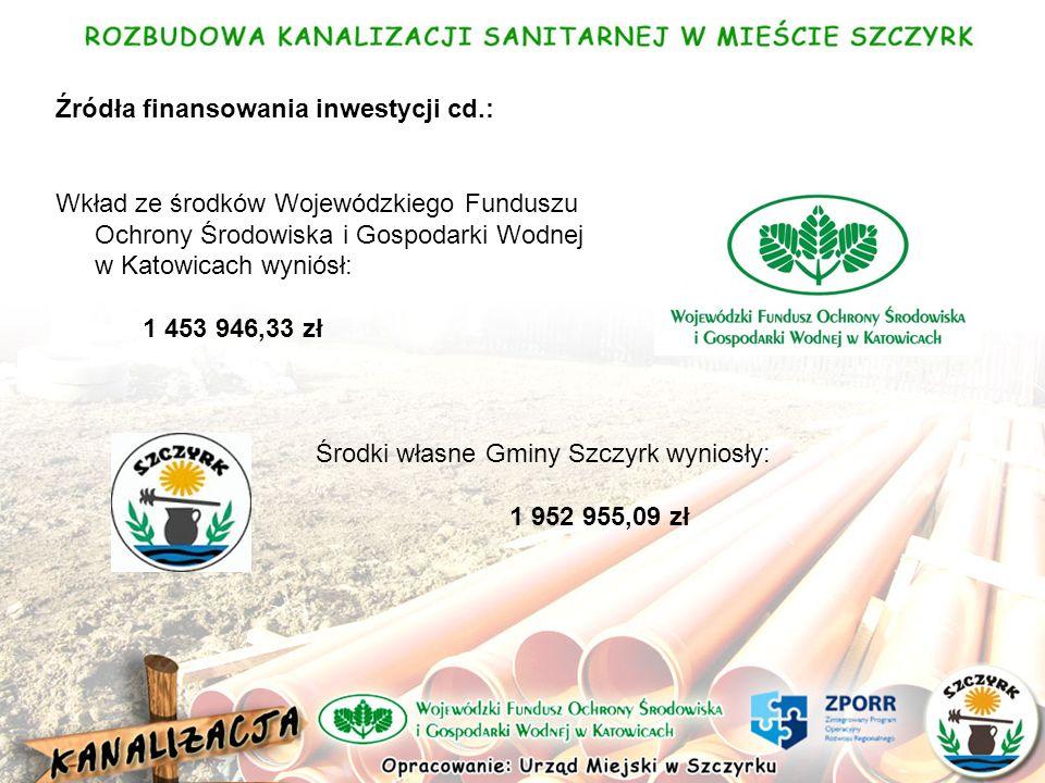 Źródła finansowania inwestycji cd.: Wkład ze środków Wojewódzkiego Funduszu Ochrony Środowiska i Gospodarki Wodnej w Katowicach wyniósł: 1 453 946,33 zł Środki własne Gminy Szczyrk wyniosły: 1 952 955,09 zł