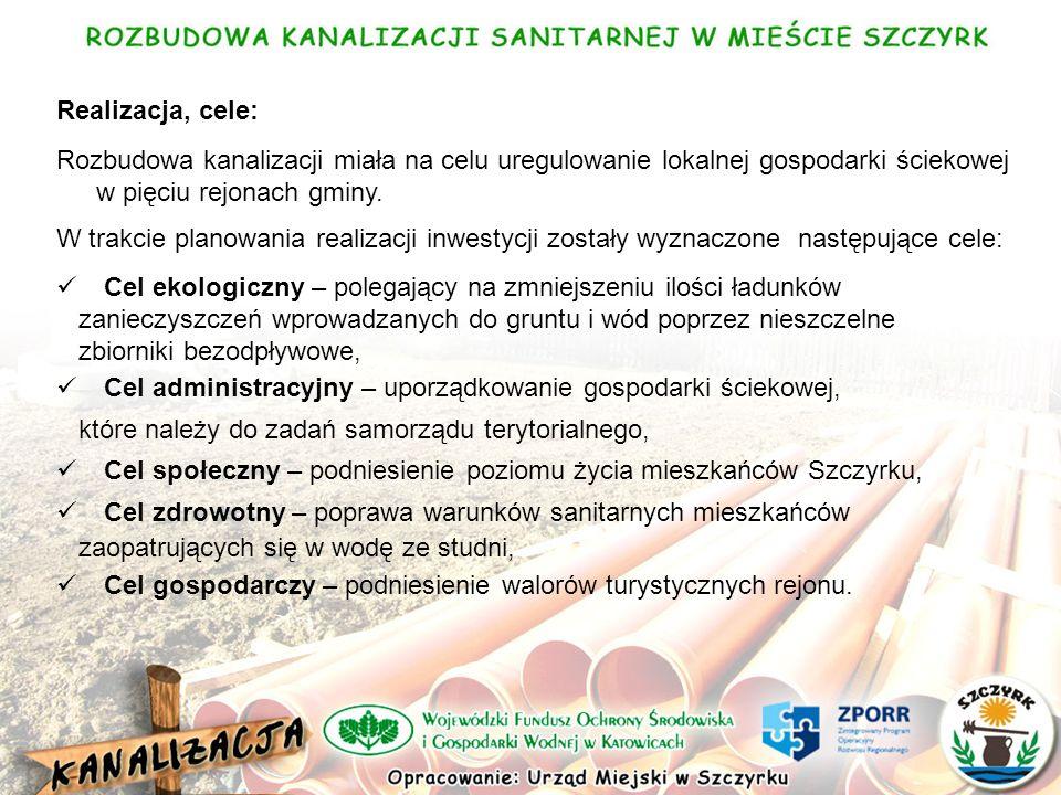 Realizacja, cele: Rozbudowa kanalizacji miała na celu uregulowanie lokalnej gospodarki ściekowej w pięciu rejonach gminy.