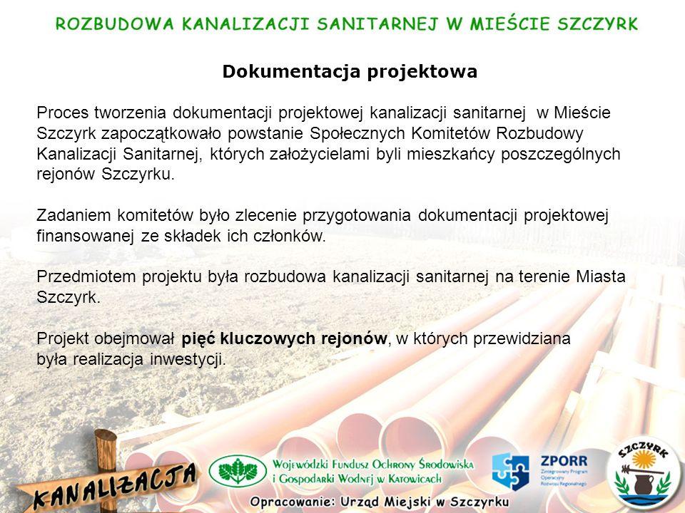 Dokumentacja projektowa Proces tworzenia dokumentacji projektowej kanalizacji sanitarnej w Mieście Szczyrk zapoczątkowało powstanie Społecznych Komitetów Rozbudowy Kanalizacji Sanitarnej, których założycielami byli mieszkańcy poszczególnych rejonów Szczyrku.