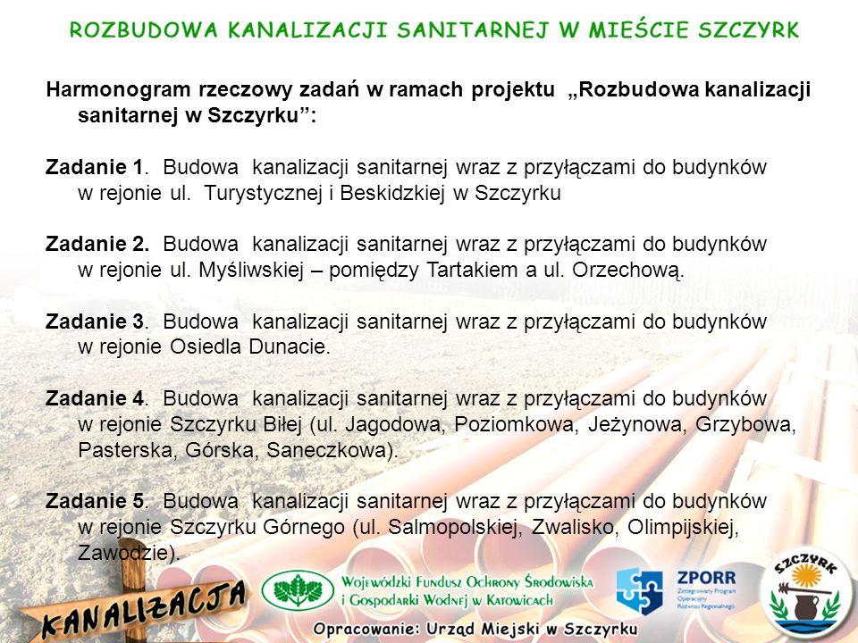 Harmonogram rzeczowy zadań w ramach projektu Rozbudowa kanalizacji sanitarnej w Szczyrku: Zadanie 1.