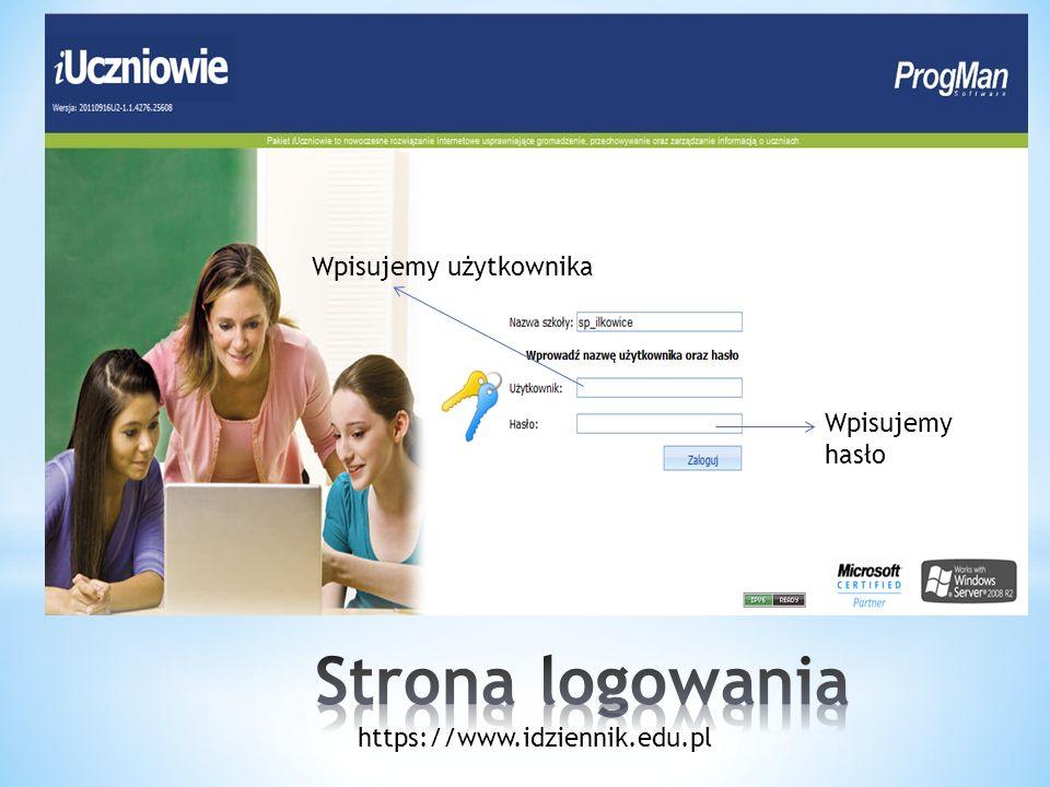 Po wpisaniu nazwy użytkownika klikamy zaloguj lub wciskamy enter https://www.idziennik.edu.pl