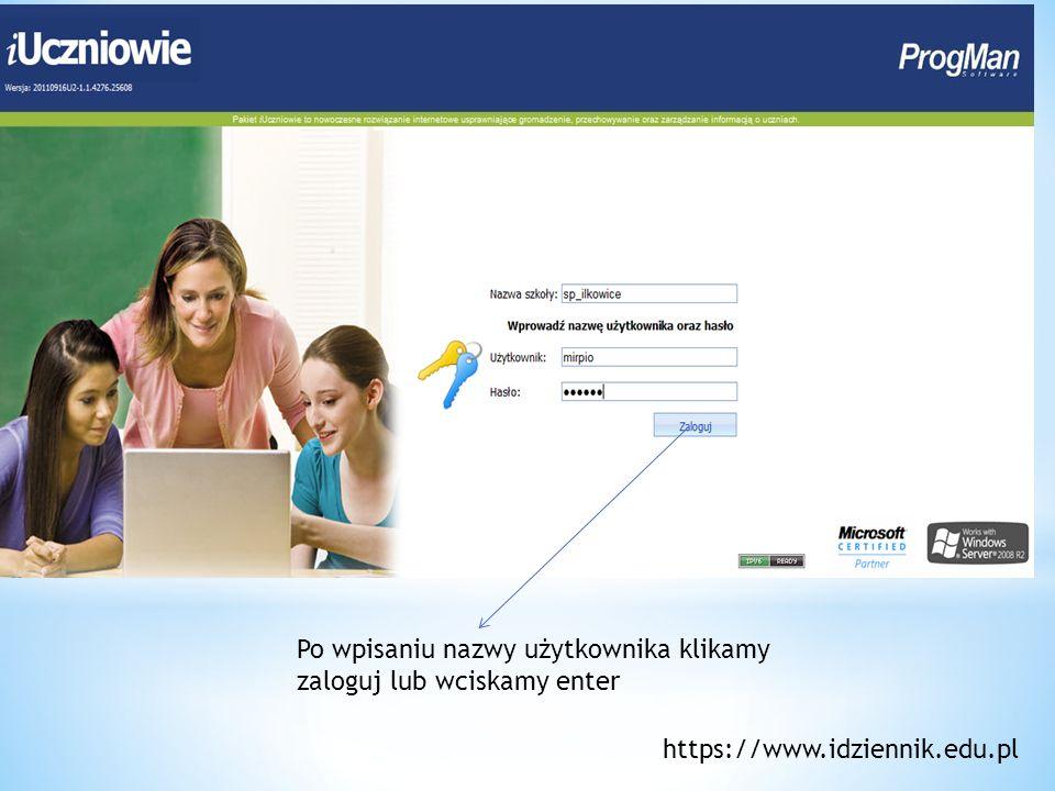 Tak wygląda strona po zalogowaniu https://www.idziennik.edu.pl