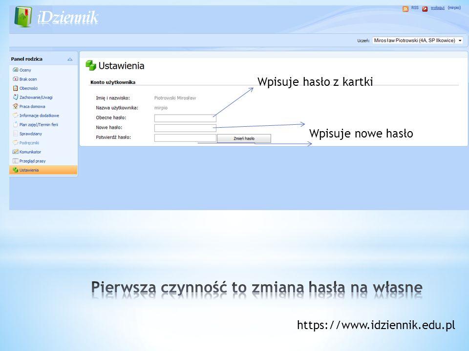 Wpisuje hasło z kartki Wpisuje nowe hasło https://www.idziennik.edu.pl