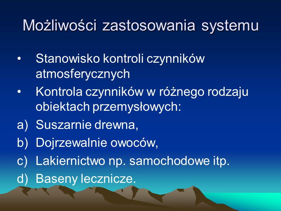 Możliwości zastosowania systemu Stanowisko kontroli czynników atmosferycznych Kontrola czynników w różnego rodzaju obiektach przemysłowych: a)Suszarni