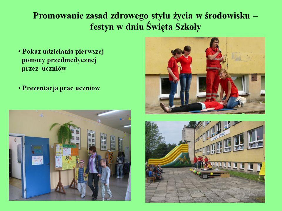 Promowanie zasad zdrowego stylu życia w środowisku – festyn w dniu Święta Szkoły Pokaz udzielania pierwszej pomocy przedmedycznej przez uczniów Prezen