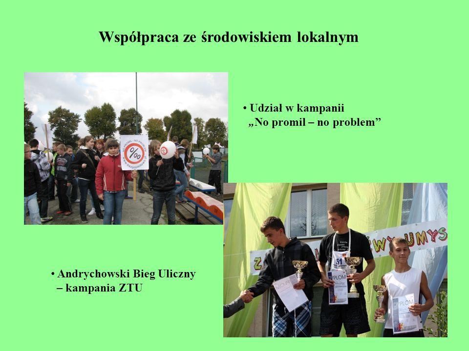 Udział w kampanii No promil – no problem Andrychowski Bieg Uliczny – kampania ZTU Współpraca ze środowiskiem lokalnym